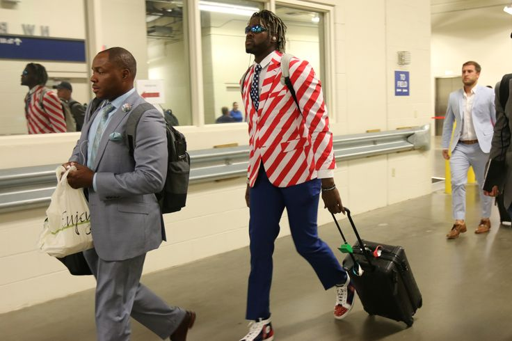 Detroit Lions DE Devin Taylor showed up in a stripped jacket so bold in Week 1 you almost forget he recorded 6 tackles. (AP)