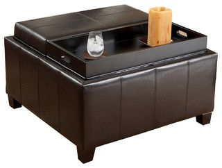 Plymouth Espresso Leather Tray Top Storage Ottoman - traditional - ottomans and cubes - by Great Deal Furniture