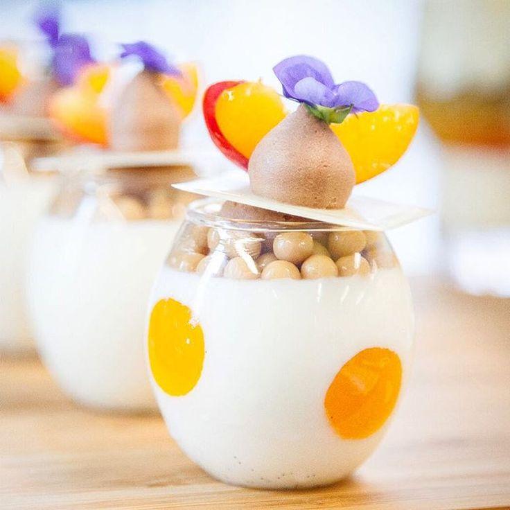 Opalys panna cotta with apricot gelee, dulces crunchy pearls, gianduja whipped ganache photo by @alexayerphotography #Bachour #bachourchocolate #bachourchocolatebook #bachoursimplybeautiful #chocolate #theartofplating #chefstalk #chefsofinstagram #gastroart #antoniobachour #bachour1234 #valrhona