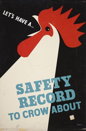 Description Workplace safety was promoted so as to be understood as both an individual responsibility and a collective benefit. The economic impact of accidents on production was also made clear from the start. Artist Leonard Cusden Date 1950s