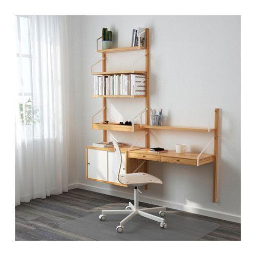 SVALNÄS Wall-mounted storage combination, bamboo, white bamboo/white 59x13 3/4x69 1/4