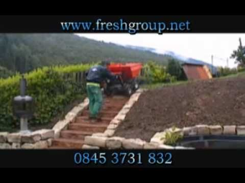 Muck Truck moves easily over steps and steep inclines. The 4WD Muck Truck Power Barrow moves building materials over most terrains. The Muck Truck is used by builders, landscapers and tree surgeons. http://www.fresh-group.com/muck-truck.html