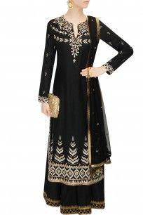 Black gota patti embroidered sharara set