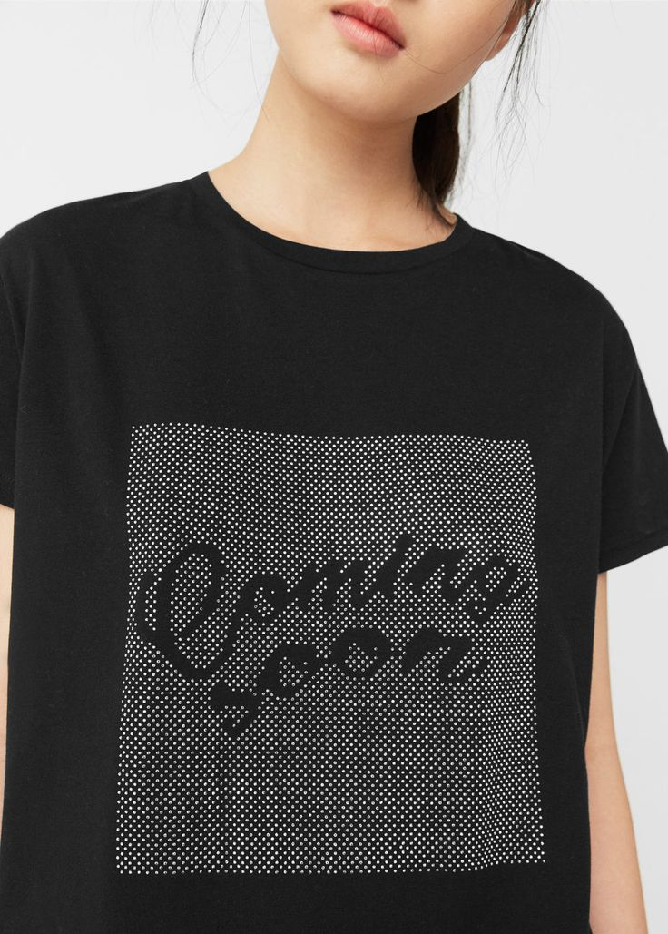 Rhinestone print t-shirt
