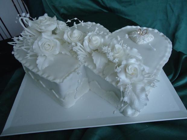 Biele svadobné dvojsrdce