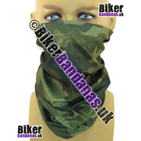 Posh Green Camouflage Multifunctional Headwear / Neck Tube Bandana.  One of over 400 Styles for Men and Women