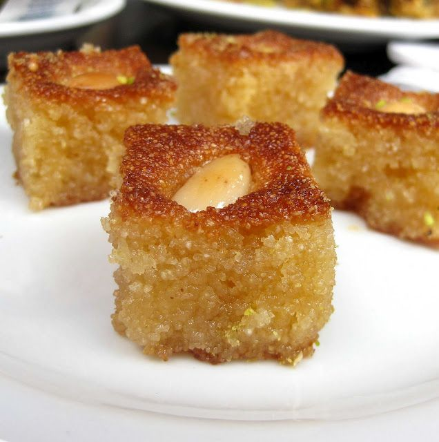 Hareeseh with almonds---a delicious arabic dessert.