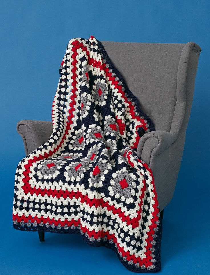With the Patriotic Crochet Granny Squares Throw, you can now use your basic crochet skills in a new way. The finished product is a funky and fun throw. It's a fun twist on a classic pattern.