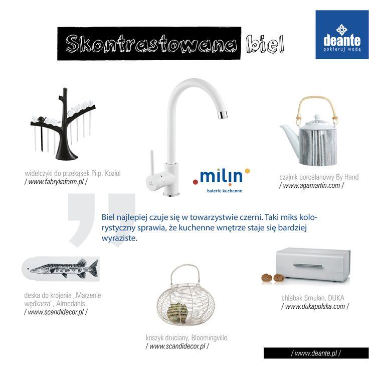 Milin - white kitchen mixer, Deante.