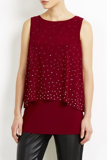 Double Layer Berry Studded Vest Top