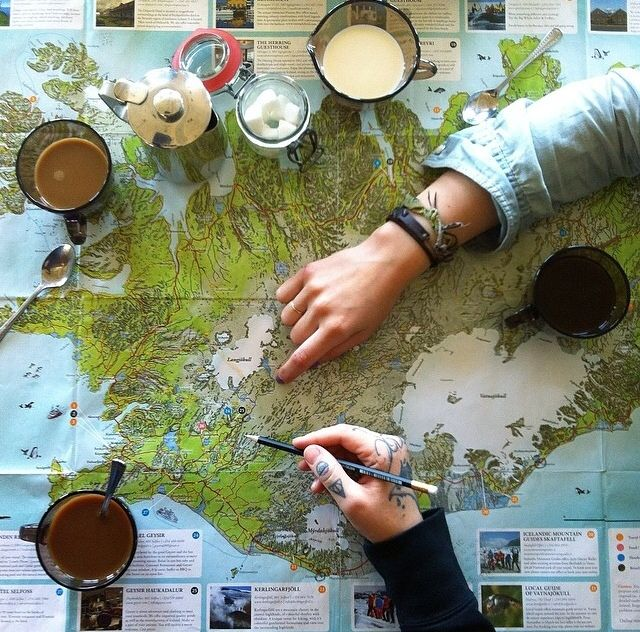 Charting the maps and planning your escape over tea. This is like two of my favorite things in the whole world.