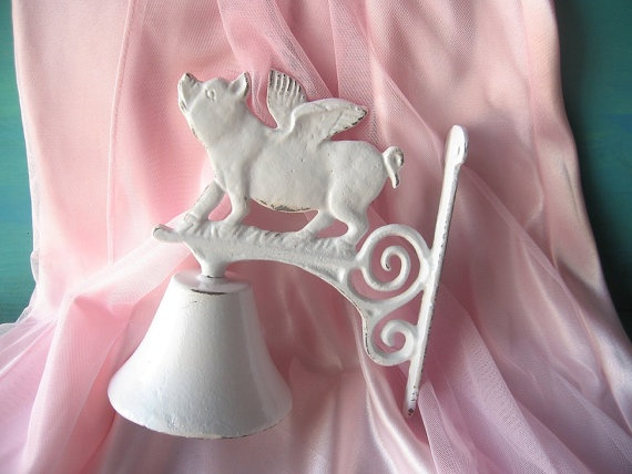 Pig Bell/When Pigs Fly  Bell / Dinner Bell / by happybdaytome, $24.00