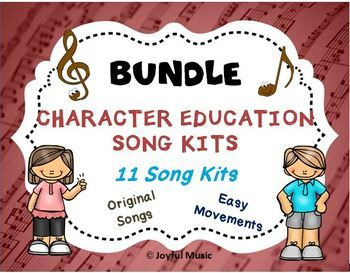 *** $15.00 for all 11 Song Kits *** ***KID FRIENDLY MP3 Vocal Tracks are included*** This K-5th Complete Character Education Song Kit BUNDLE includes 11 Song Kits: • Respect • Responsibility • Courage • Kindness • Self-Discipline • Integrity • Perseverance • Good Judgment • Cooperation • Trustworthiness • Citizenship