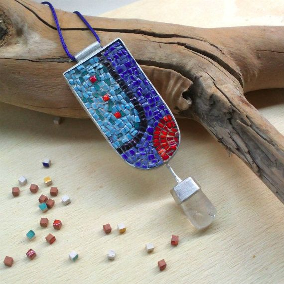 Sterling Silver Micro Mosaic Pendant with mosaic by applenamedD, €180.00