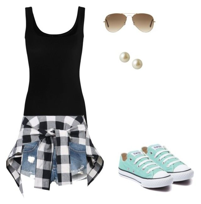 """Little League Baseball Game"" by kikayri on Polyvore featuring Twenty, RVCA, Converse, Ray-Ban and Carolee"