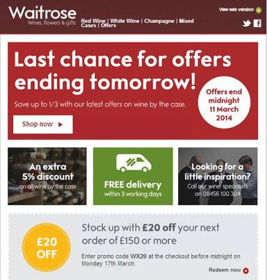 Get £20 on your next order over £150 at #Waitrose using #coupon CODE: WX20. Ends 17/3. #wine