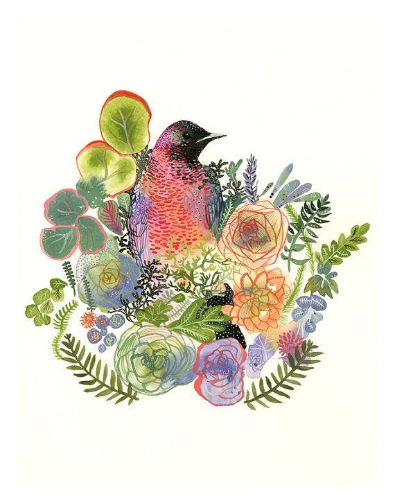 bird art, plants, colorful, peach, green, lavender,Grackle and Succulents Archival Large garden art print
