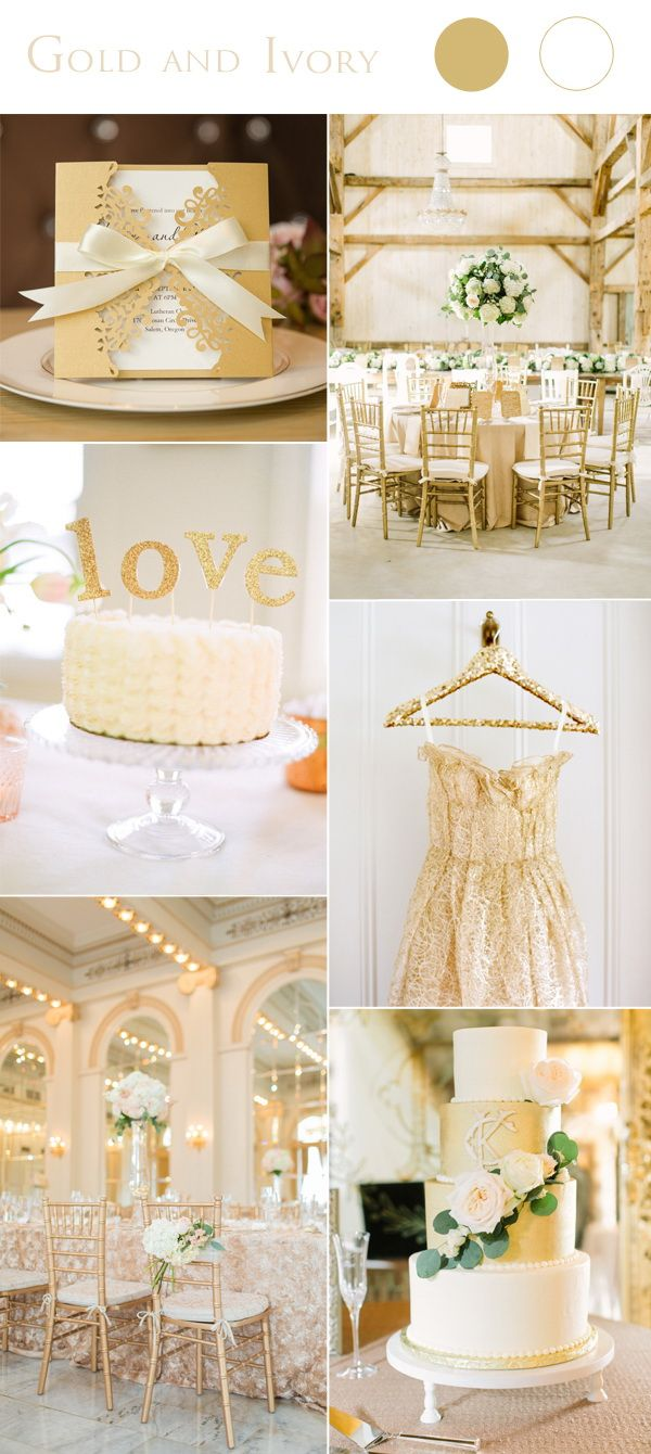 gold and ivory wedding color ideas with laser cut wedding invite cards