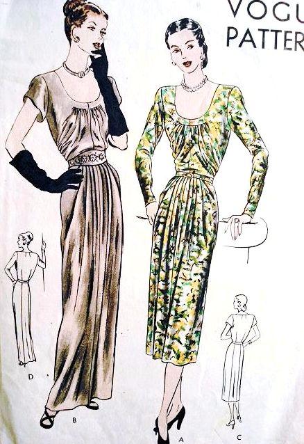 1940s  GLAMOROUS Evening Dinner Party Dress Pattern VOGUE 6095 Low U Neckline Gathered Bodice Bust 32 Vintage Sewing Pattern