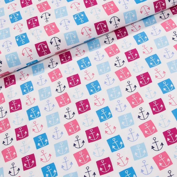 Bavlněný úplet LITTLE DARLING 129.013-3003 kotva, š.150cm (látka v metráži) | Internetový obchod Chci Látky.cz
