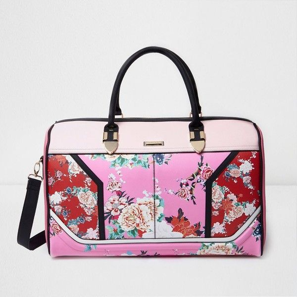 River Island Pink and red floral print weekend bag ($140) ❤ liked on Polyvore featuring bags, bags / purses, luggage, pink, women, floral print handbags, top handle purse, floral weekend bag, python handbags and pink purse