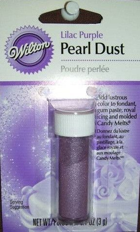 This lilac purple pearl dust comes in a 0.1-ounce pack. This color dust adds a lustrous finish to fondant, royal icing and gum paste decorations. Brush onto your decorations with a soft artist or past