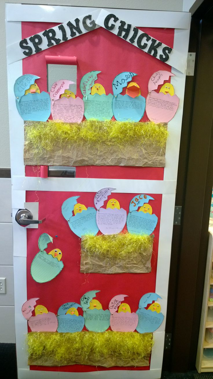 Spring Chick Writing Prompt Used As A Door Greeting For Open House Or Easter