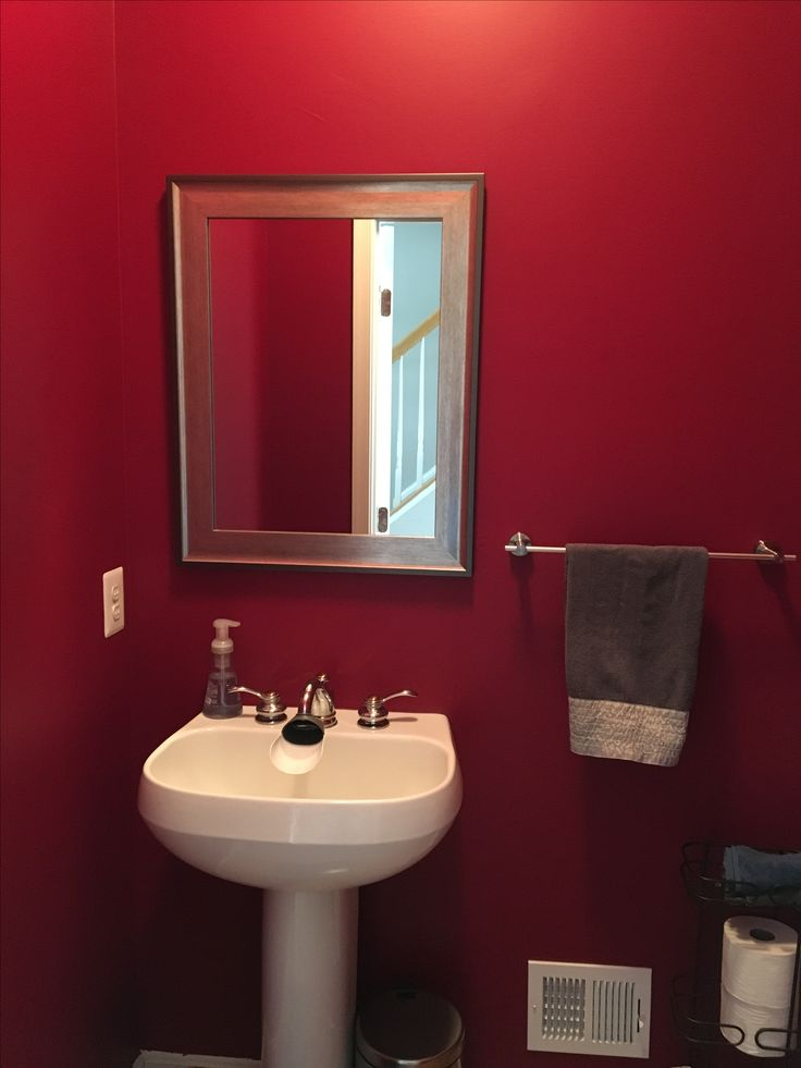 Behr Dark Crimson In Powder Bathroom In 2019 Behr Paint