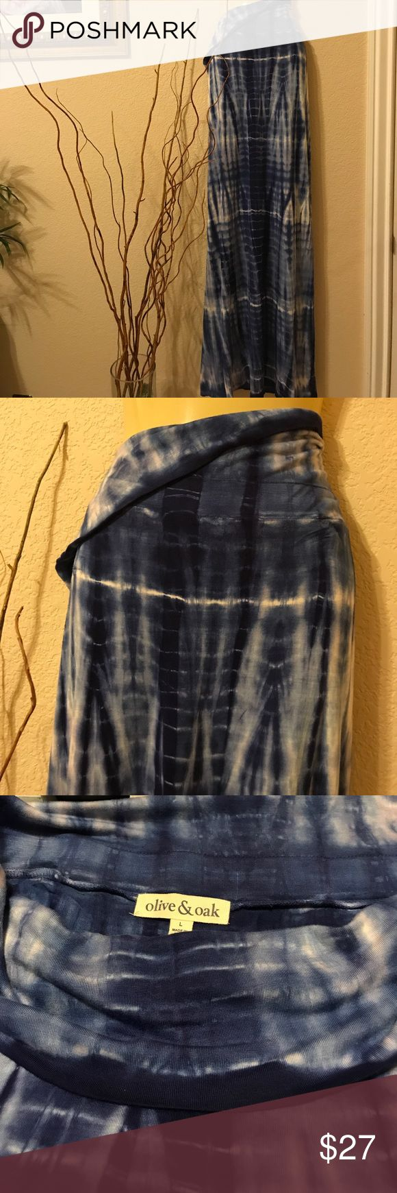 Blue Tie Dyed Maxi Skirt by Olive & Oak Beautiful fold over waistband tie dyed blue Maxi Skirt. This a size Large NWOT. Skirt is approximately 4' long. Olive & Oak Skirts Maxi
