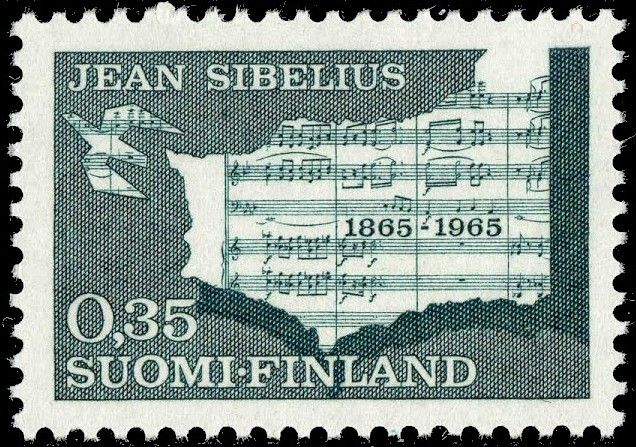 Postage stamp celebrating 100 years from the birth of Jean Sibelius, the Finnish composer: Finland Stamps, Musician Stamps, Postzegels Finland, Category Stamps, Jeans, Music Stamps, Births, Postage Stamps