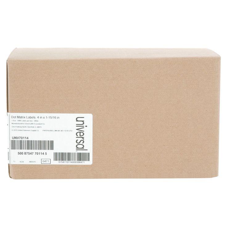 Universal Dot Matrix Printer Labels, 1 Across, 1-15/16 x 4, White, 5000/Box