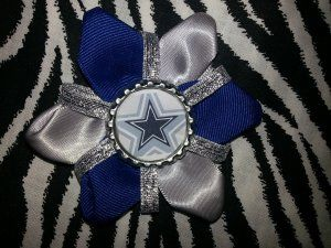 Sporty Bottlecap Flower NFL Football Dallas Cowboys Sparkly Hair Bow ~ Free Shipping ~ Bows By Kittak $4