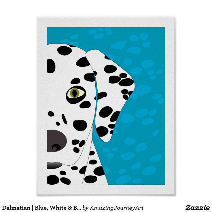 Dalmatian   Blue, White & Black Abstract Dog Art