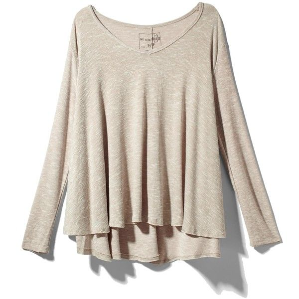 Free People Sunday Tee ❤ liked on Polyvore featuring tops, shirts, sweaters, long sleeved, blusas, oatmeal, shirt top, full sleeves tops, pink long sleeve top and long sleeve shirts