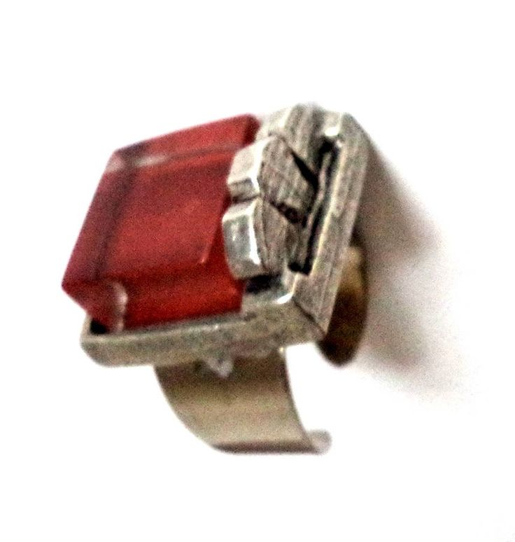 Brutalist Signed Patricia David Pewter Silver Glass Large Ring ADJUSTABLE Modernist Amber Square Sculptural Studio Art Jewelry Fit 6 - 9.5 by MushkaVintage3 on Etsy