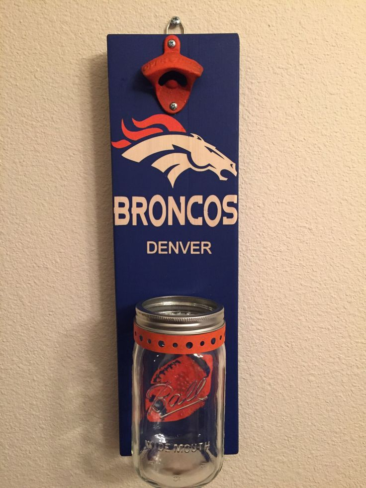 BRONCOS DENVER Bottle Opener with Mason Jar Rustic FOOTBALL - pinned by pin4etsy.com