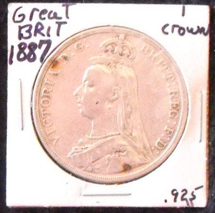 Item 0001. (Obverse) 1887 Jubilee UK Crown (5 shillings) Sterling silver, Antique, High Grade. AUD $85.oo  Buy Now: https://www.paypal.com/cgi-bin/webscr?cmd=_s-xclick&hosted_button_id=EHYWLZM27QWC2