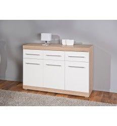 Bahut 3 portes 3 tiroirs coloris blanc laqu ch ne naturel buffet bahut de - Dressoir blanc laque ...