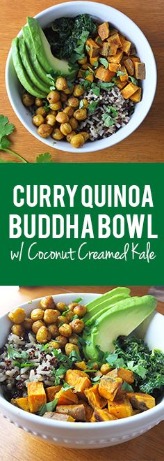 Curry Quinoa Buddha Bowl with Coconut Creamed Kale #vegan #healthy