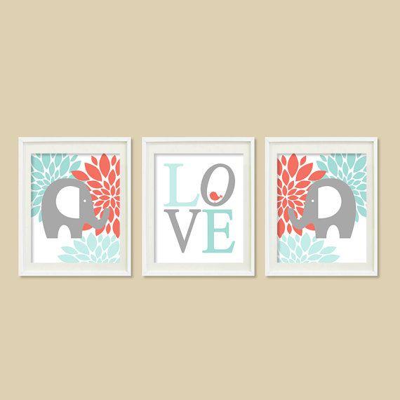 Fl Elephant Nursery Artwork C Aqua Dew Gray Grey Bird Bir Love Set Of 3 Prints