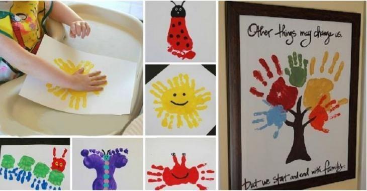 18 Merveilleuses Idees De Peintures A Avec Avec Les Pieds Et Les Mains Des Enfants Truc Et Bricolage Idee Peinture Peinture Avec Les Mains