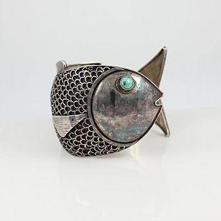 Cuff | Designer ? (Peru) Sterling silver. c. 1950s