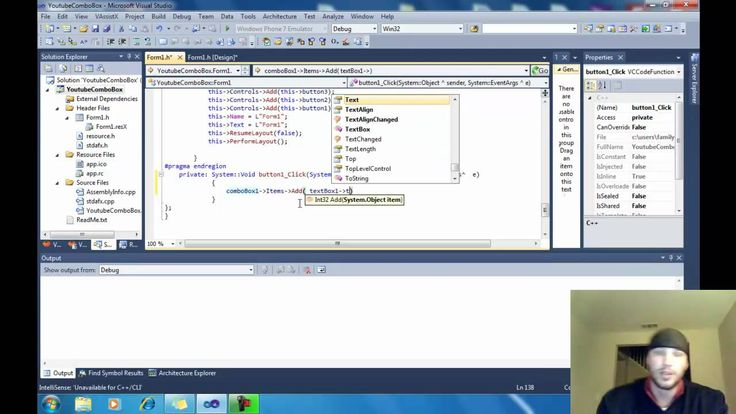 """Visual CLI C ComboBox Tutorial This will teach you how to add a combobox to Visual Studio c. If you are using Visual Studio 2010 you will need to download an add-on like: Visual Assist X...This will allow you to use the """"intellisence"""" coding. http://ift.tt/2FIFQUs Previous VS editions are already intellisense enabled. Thanks to: """"Bucky for his tutorials!"""" Youtube channel """"TheNewBoston"""" http://www.youtube.com/user/thenewboston?blend=1&ob=4 http://ift.tt/j4GPLt"""