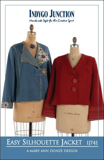 Easy Silhouette Jacket – IJ741 sewing pattern from IndygoJunction.com $12.99 .. Same here ... Plus size - wear red jacket with wide black trouser and black shirt ... Dressed for work ... Well ... Sigh