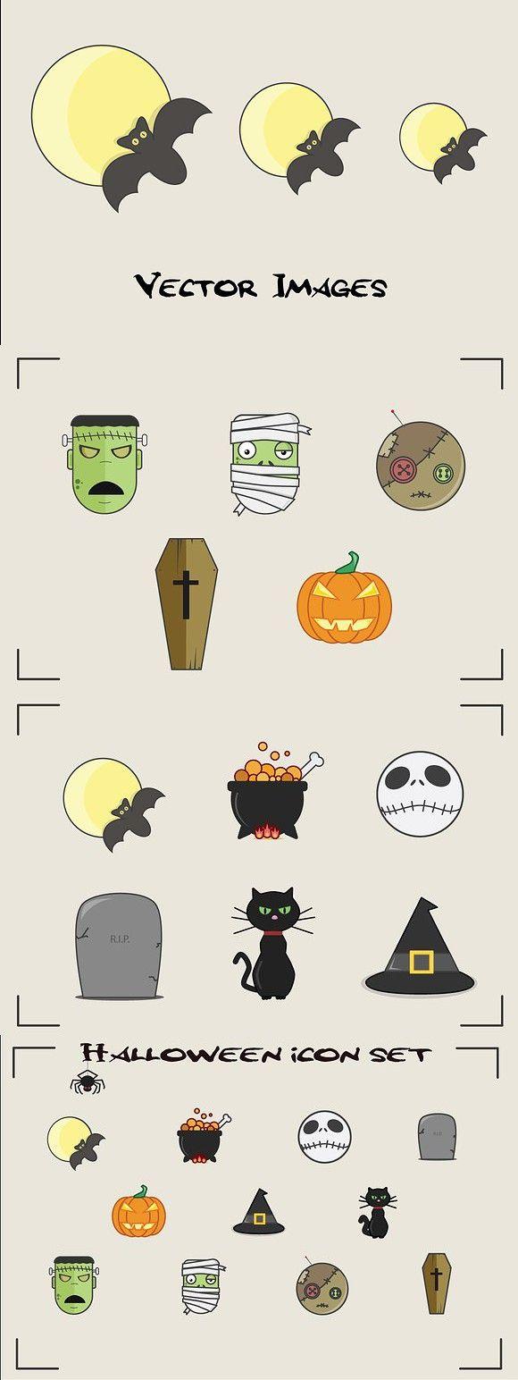 Halloween Icon Set. Cat #halloween