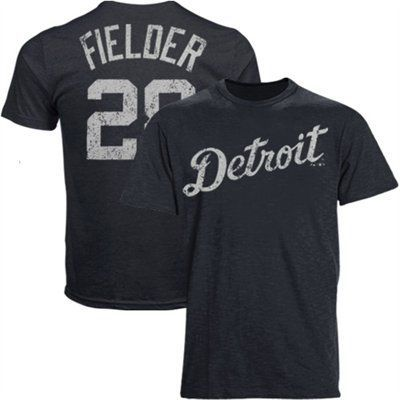 Majestic Threads Prince Fielder Detroit Tigers Name & Number Premium Tri-Blend T-Shirt - Navy Blue