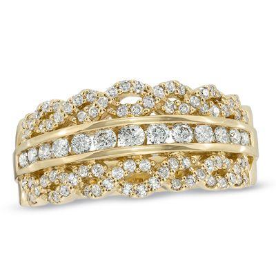 Zales Three Row Chevron Ring in 10K Gold 5vJXm