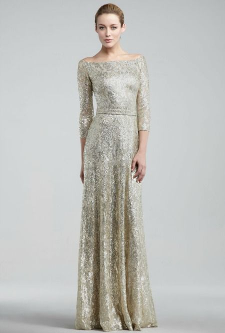 David Meister Metallic Lace Gown from Neiman Marcus, $650. Read More http://www.glamour.com/weddings/blogs/save-the-date/2012/08/11-drop-dead-gorgeous-gold-wed.html#ixzz22nufqgfe