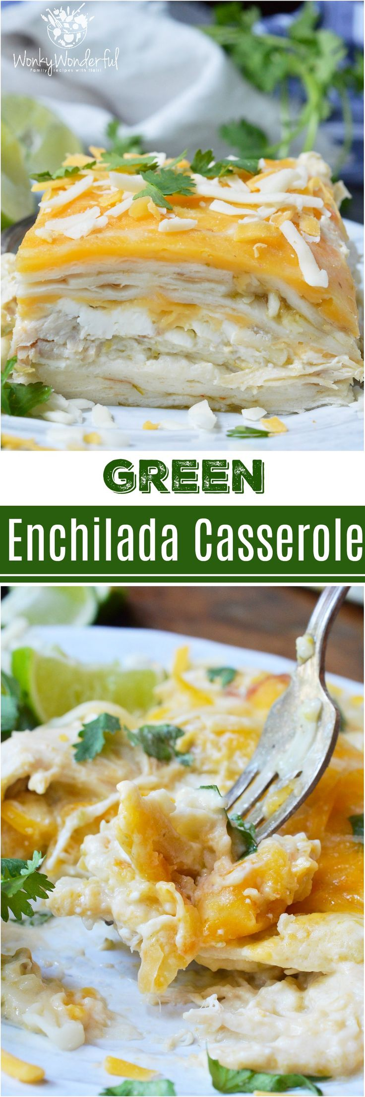 For a quick, easy and delicious dinner recipe this Green Chicken Enchilada Casserole is perfect! This Mexican meal is made with just 5 ingredients and the rotisserie chicken saves a ton of time. This is sure to be a new family favorite weeknight dinner! #ad #FarmRich @farmrichsnacks