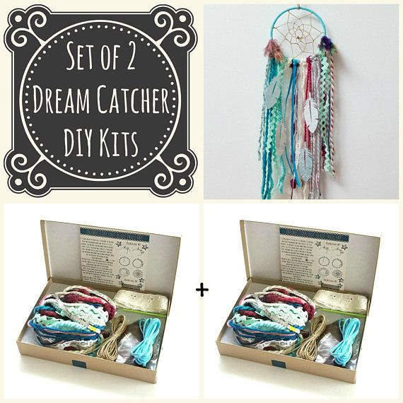 Set of 2 Blue DIY Dream Catcher Kits. Do it Yourself Craft